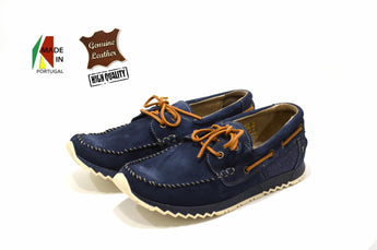 Men's Blue Moccasins MLV in Genuine Leather Made in Portugal