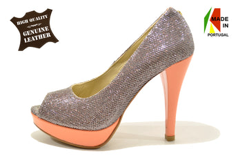 Women's Salmon/Silver Leather Shoes with High Heel And Plataform Open Toe