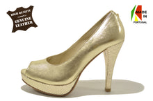 Women's Golden Leather Shoes with High Heel And Plataform Open Toe