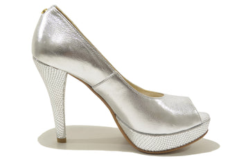 Women's Silver Leather Shoes with High Heel And Plataform Open Toe