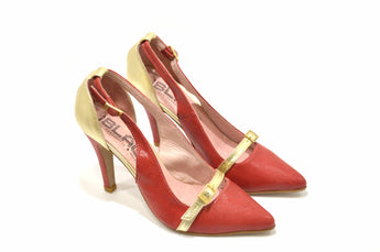 Women's Red/Gold Leather Sandal with Hight Heel
