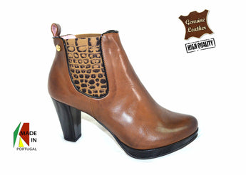 Women´s Brown Leather and Patent Ankle-boot with Plataform