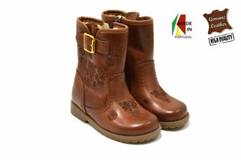 Girl's Brown Boots in Genuine Leather