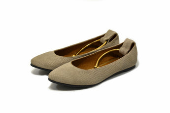 Women's Taupe Suede Leather Flat Shoes