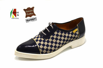 Women's Blue Check Patent and Printed Material Shoe with Low Heel