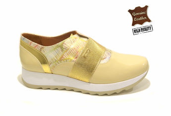 Woman's Gold Sneakers with White Plataform In Genuine Leather Made in Portugal
