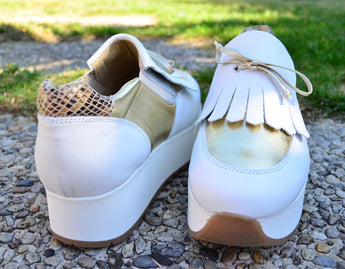 Woman's White and Gold Sneakers with White Plataform In Genuine Leather Made in Portugal