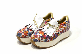 Woman's Floral Sneakers with White Plataform In Genuine Leather Made in Portugal