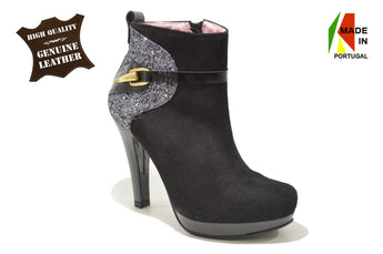 Women´s Black Leather Suede and Embossed Material Ankle-boot with Platform and High Heel
