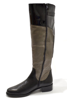 Women's Black/Grey Leather and Embossed Suede Boot with Low Heel