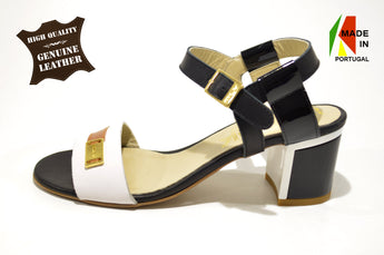 Women's Brown and White Leather Sandal with Mid Heel