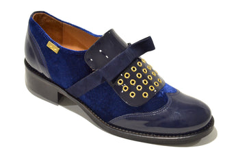 Women´s Blue Velvet Fabric and Leather Shoes with Flat Heel