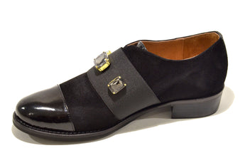 Women´s Black Polish Leather Shoes with Flat Heel