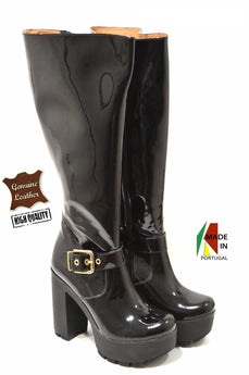 Women's Polish Black Leather Boot with Mid Heel and Plataform