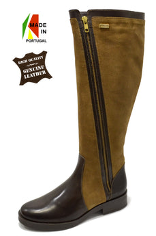 Women´s Brown Leather and Suede Boot with Low Heel