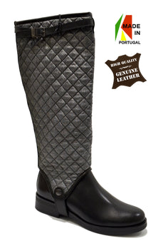 Women's Black/Grey Leather and Padded Material Boot with Low Heel