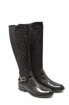 Women's Black with Sparkles Leather and Suede Boot with Low Heel