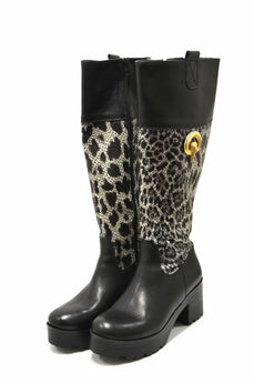 Women's Black Leather Boot with Mid Heel and Plataform