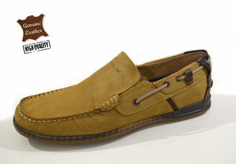 Men's Brown Moccasins MLV in Genuine Leather Made in Portugal