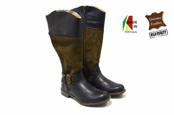 Girl's Brown/Black Boots in Genuine Leather
