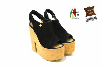 Black Suede Sandal With Cork High Heel And Plataform