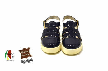 Kid's Navy Polish Sandals in Genuine Leather