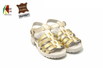 Kid's Gold Sandals in Genuine Leather