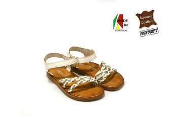 Kid's White Sandals in Genuine Leather