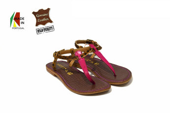 Kid's Pink/Brown Sandals in Genuine Leather