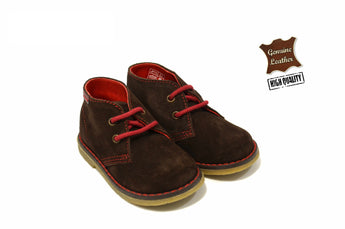 Kid's Suede Brown Boots in Genuine Leather