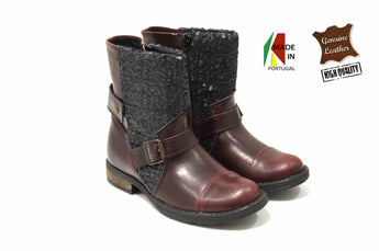 Girl's Brown/Black with Glitter Boots in Genuine Leather