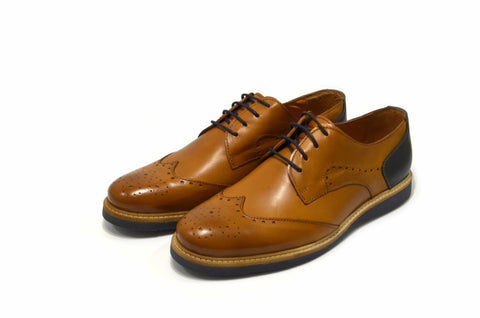 Men's Brown Oxford Shoes in Genuine Leather Made in Portugal