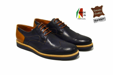 Men's Navy Blue Oxford Shoes in Genuine Leather Made in Portugal