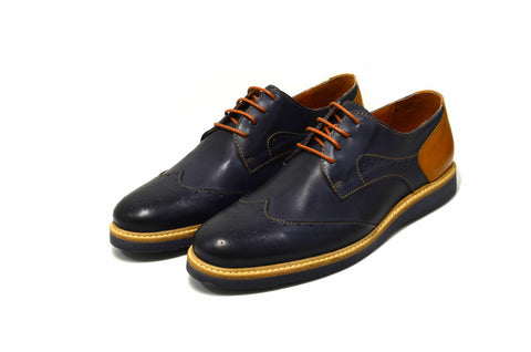 ... Men's Navy Blue Oxford Shoes in Genuine Leather Made in Portugal