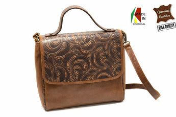Women's Brown Leather Handlebag Purse Messenger Cross Body