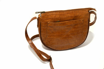 Women's Brown Leather Handbag Saddle Cross Body