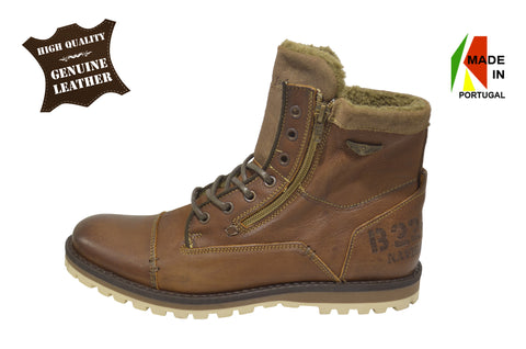 Men's Leather Boots in Brown with Wool, Genuine Leather