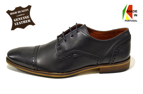 Classic Mens Black Oxford Shoes in Genuine Leather