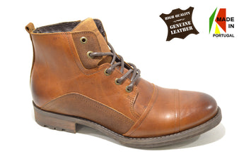 Men's Brown Fashion Boots in Genuine Leather Made in Portugal