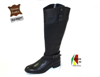 Women's Black Leather Boot with Low Heel