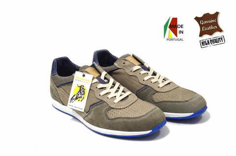 Grey Sporty Shoes in Genuine Leather