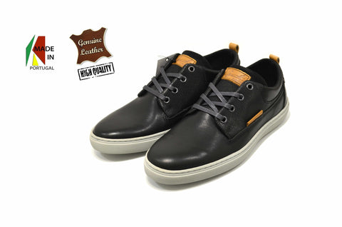 Men's Black Casual Sneakers In Genuine Leather Made in Portugal