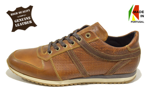 Men's Brown Sport Casual Shoes in Genuine Leather