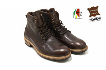 Leather Brown Fashion Boots In Genuine Leather Made in Portugal