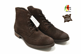 Leather Brown Suede Fashion Boots In Genuine Leather Made in Portugal