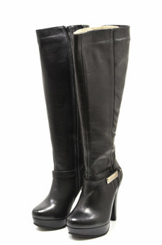 Women's Black Leather Boot with High Heel