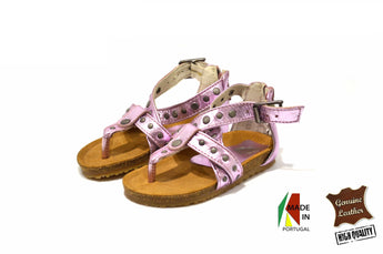 Kid's Pink Sandals in Genuine Leather