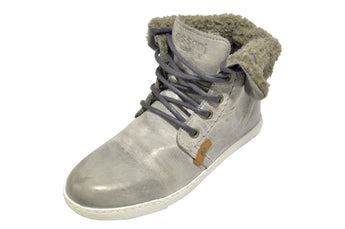 Women´s Grey Leather with Wool Material Boot Flat Heel
