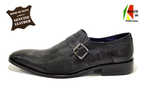 Classic Dress Black Shoes with Buckle in Genuine Leather