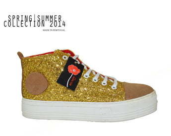 Woman's Golden Sneakers with White Plataform In Genuine Leather Made in Portugal